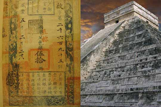 paper money and mayan temple