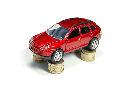 Red car on coins