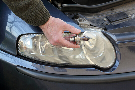 Changing a bulb on car headlights