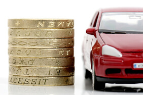 Car with pound coins