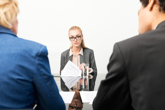 Female in job interview
