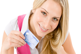 Woman holding credit card
