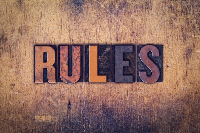 Wooden letterpress of the word Rules