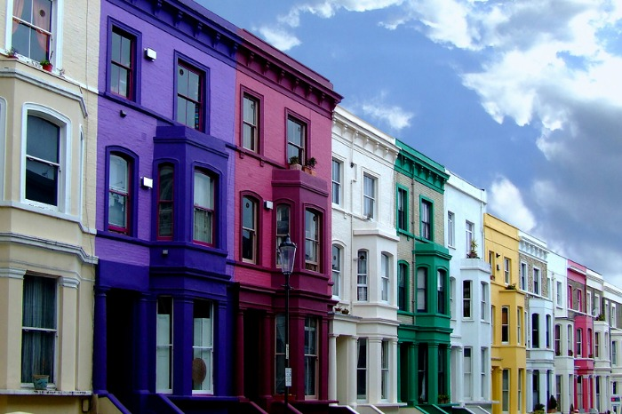 A colourful street of terraced houses