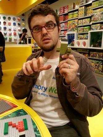 Jamie Gibbs in the lego shop