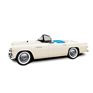A classic white convertible facing left